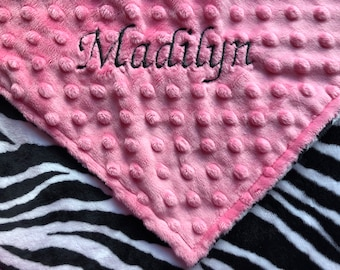 Personalized Minky Baby Blanket Zebra/Stroller Blanket/Lovey/Taggie/Baby Shower Gift FREE SHIPPING