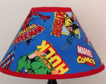 Marvel Comics Superheroes Fabric Childrens Lamp Shade/Children's Gift FREE SHIPPING