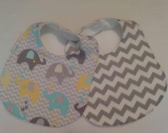 Baby Bib/Burp Cloth Gift Set/Unisex Elephants/Create Your Own Set/ Baby Shower Gift