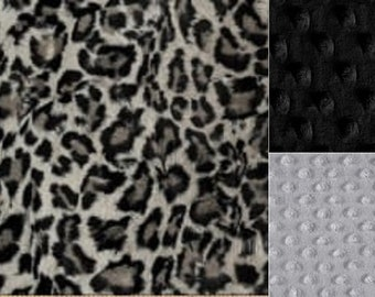 Personalized Minky Baby Blanket Gray Leopard Print/Stroller Blanket/Lovey/Taggie/Baby Shower Gift FREE SHIPPING