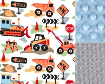 Personalized Construction Trucks Minky Baby Blanket /Stroller Blanket/Lovey/Taggie/Baby Shower Gift FREE SHIPPING