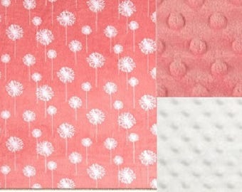 Personalized Minky Baby Blanket Coral Flowers/ Stroller Blanket/Lovey/Taggie/Baby Gift FREE SHIPPING