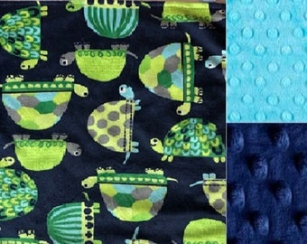 Personalized Minky Baby Blanket/Turtle/Lovey/Tag Blanket /Stroller Blanket/Baby Shower Gift FREE SHIPPING