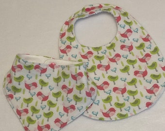 Pink and Green Birds Baby Bib Burp Cloth Gift Set/Create Your Own Baby Shower Gift FREE SHIPPING