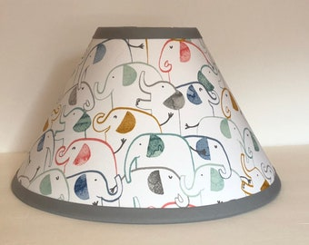 Emery Elephant Fabric Nursery Lamp Shade/Nursery Decor/Baby Shower Gift FREE SHIPPING