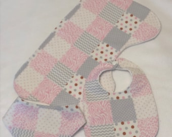 Pink and Gray Animal Patchwork Print Baby Girl Bib Burp Cloth Gift Set /Create Your Own Baby Shower Gift FREE SHIPPING