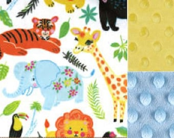 Personalized Animal Friends Minky Baby Blanket /Stroller Blanket/Lovey/Taggie/Baby Gift FREE SHIPPING