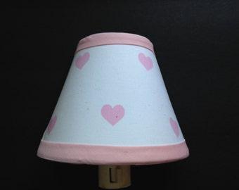 Pink Hearts Fabric Night Light/Children's Gift FREE SHIPPING