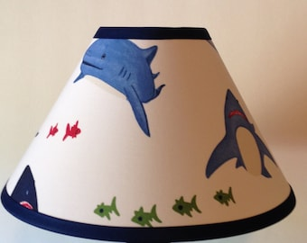 Shark Bite Fabric Children's Lamp Shade/Shark Lampshade/Kid's Shark Lamp Shade/Children's Gift FREE SHIPPING