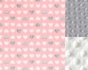Personalized Minky Baby Blanket Pink Hearts/ Stroller Blanket/Lovey/Taggie/Baby Shower Gift FREE SHIPPING