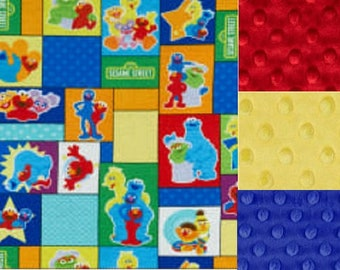 Personalized Minky Sesame Street Blocks Baby Blanket /Lovey/Taggie/ Stroller Blanket/Shower Gift FREE SHIPPING