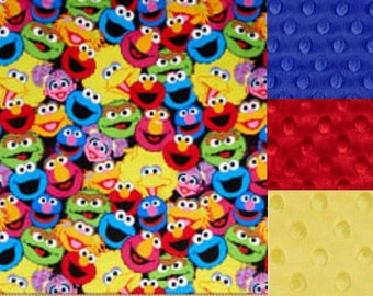 Personalized Minky Sesame Street Faces Baby Blanket /Lovey/Taggie/ Stroller Blanket/Shower Gift FREE SHIPPING