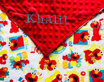 Personalized Minky Elmo Baby Blanket /Lovey/Taggie/ Stroller Blanket/Shower Gift FREE SHIPPING