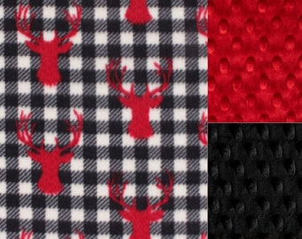 Personalized Minky Baby Blanket Plaid Deer/Stroller Blanket/Lovey/Taggie/Baby Shower FREE SHIPPING
