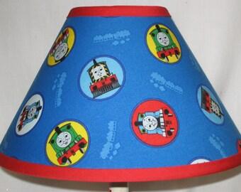 Train lamp shade etsy thomas the train childrens fabric lamp shadechildrens gift aloadofball Gallery