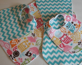 Baby Girl Bib/Burp Cloth Gift Set Owls/Baby Shower Gift/FREE SHIPPING