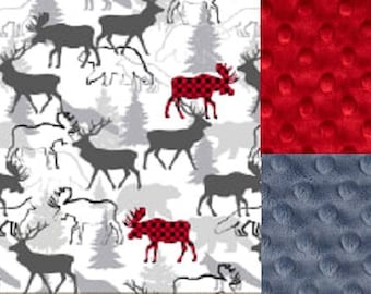 Personalized MinkyBaby Blanket Woodland Deer/Lovey/Taggie/ Stroller Blanket/Shower Gift FREE SHIPPING