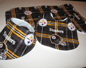 Pittsburgh Steelers Baby Gift Set/Burp Cloth/Bibs/Baby Shower Gift