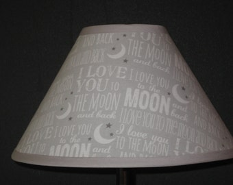 Love You to the Moon & Back Fabric Nursery Lamp Shade /Baby Gift FREE SHIPPING