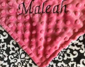 Personalized Gray Damask Minky Baby Blanket /Stroller Blanket/Lovey/Taggie/Baby Shower Gift FREE SHIPPING