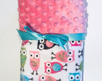 Personalized Minky Baby Blanket Owls/Stroller Blanket/Lovey/Taggie/Baby Shower Gift FREE SHIPPING