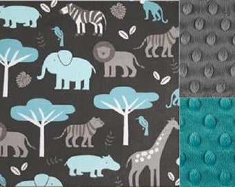 Personalized Minky Baby Blanket Safari Animals/Stroller Blanket/Lovey/Taggie/FREE SHIPPING