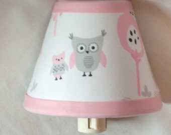 Pink and Gray Owl Fabric Nursery Night Light/Baby Gift FREE SHIPPING