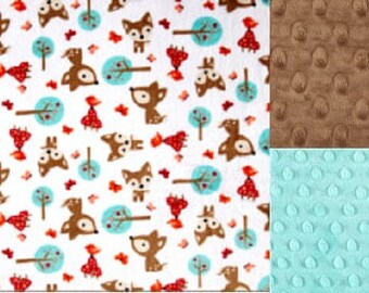 Personalized Deer Minky Baby Blanket /Lovey/Taggie/ Stroller Blanket/Shower Gift FREE SHIPPING
