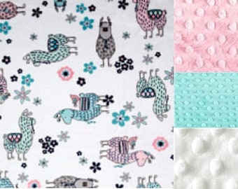 Personalized Minky Baby Blanket LLama/Lovey/Taggy Blanket/Stroller Blanket/ Shower Gift FREE SHIPPING