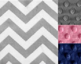 Personalized Minky Baby Blanket Gray Chevron/Stroller Blanket/Lovey/Taggie/Baby Gift FREE SHIPPING