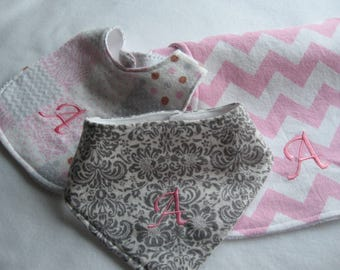 Personalized Baby Girl Bibs/BurpCloths/Baby Shower Gift