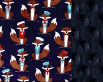 Personalized Minky Baby Blanket Nautical Foxes/Stroller Blanket/Lovey/Taggie/Shower Gift FREE SHIPPING
