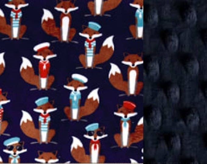Featured listing image: Personalized Minky Baby Blanket Nautical Foxes/Stroller Blanket/Lovey/Taggie/Shower Gift FREE SHIPPING