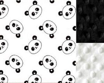 Personalized Panda Bear Minky Baby Blanket /Stroller Blanket/Lovey/Taggie/Baby Shower Gift FREE SHIPPING