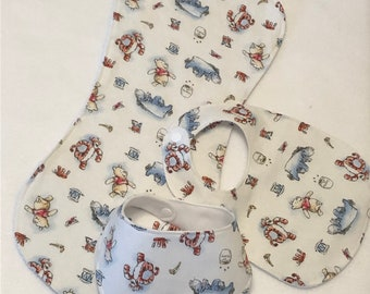 Winnie The Pooh Baby Bib Burp Cloth Gift Set/Create Your Own Baby Shower Gift FREE SHIPPING