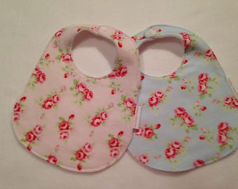 Shabby Chic Floral Baby Girl Bib Burp Cloth Gift Set/Baby Shower Gift