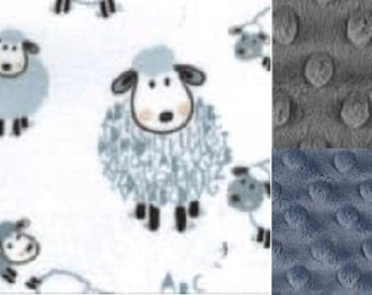 Personalized Sheep Minky Baby Blanket /Stroller Blanket/Lovey/Baby Shower Gift FREE SHIPPING