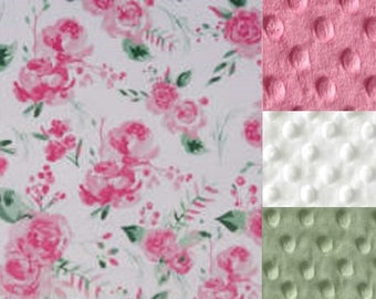 Personalized Pink Roses Minky Baby Blanket /Stroller Blanket/Lovey/Baby Shower Gift FREE SHIPPING