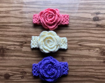 Crochet Baby Headband With Large Flower/Baby Shower Gift/Photo Prop/FREE DOMESTIC SHIPPING