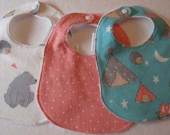 Baby Girl Bib/Burp Cloth Gift Set/Camp Wee One Turquoise & Coral/ Baby Shower Gift