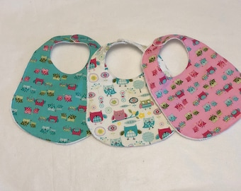 Owls Baby Girl Bib Burp Cloth Gift Set/Baby Shower Gift