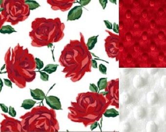 Personalized Red Roses Minky Baby Blanket /Stroller Blanket/Lovey/Baby Shower Gift FREE SHIPPING