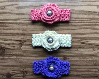 Crochet Baby Headband With Medium Flower/Baby Shower Gift/Photo Prop/FREE DOMESTIC SHIPPING