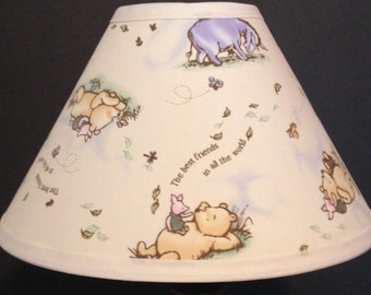 Winnie the pooh lamp etsy classic winnie the pooh fabric nursery lamp shade baby gift mozeypictures Images
