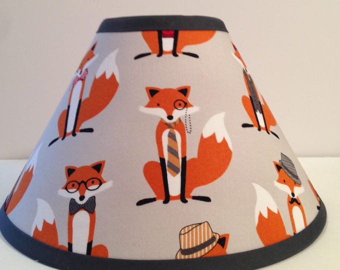 Featured listing image: Foxes Children's Fabric Lamp Shade/Woodlands Lampshade/Fox Room Decor/Woodlands Nursery FREE SHIPPING