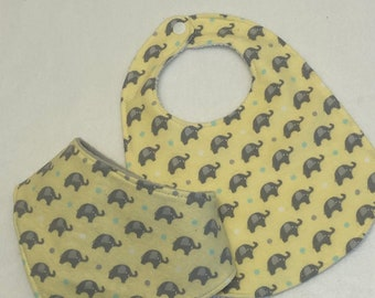 Elephants Baby Bib Burp Cloth Gift Set/Create Your Own Baby Shower Gift FREE SHIPPING