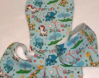 Blue Zoo Animals Baby Bib Burp Cloth Gift Set /Create Your Own Baby Shower Gift FREE SHIPPING