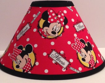 Disney Minnie Mouse Red Fabric Children's Lamp Shade/Children's Gift/Minnie Mouse Room Decor FREE SHIPPING