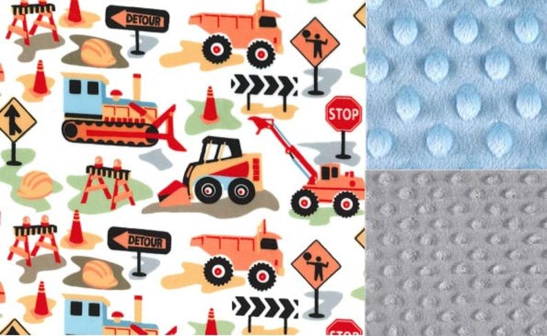 Personalized Minky Baby Blanket ConstructionTrucksStroller BlanketLoveyTaggieBaby Shower Gift FREE SHIPPING