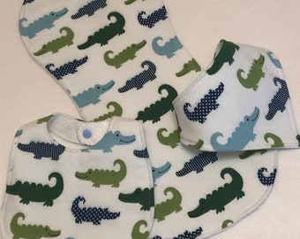 White Alligators Baby Bib Burp Cloth Gift Set /Create Your Own Baby Shower Gift FREE SHIPPING